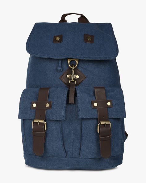 Travel Backpack With Flap Closure By AJIO ( Blue )
