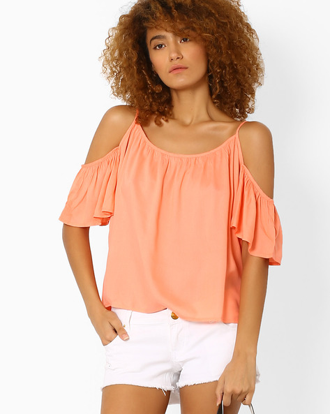 Strappy Cold-Shoulder Top By AJIO ( Pink )