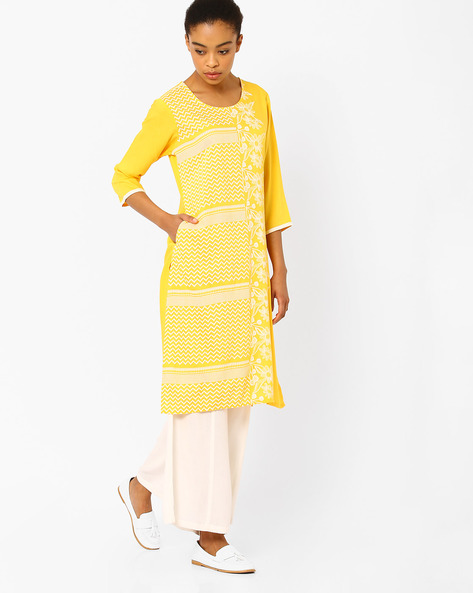 Straight Kurta With Printed Panel By AVAASA MIX N' MATCH ( Yellow )