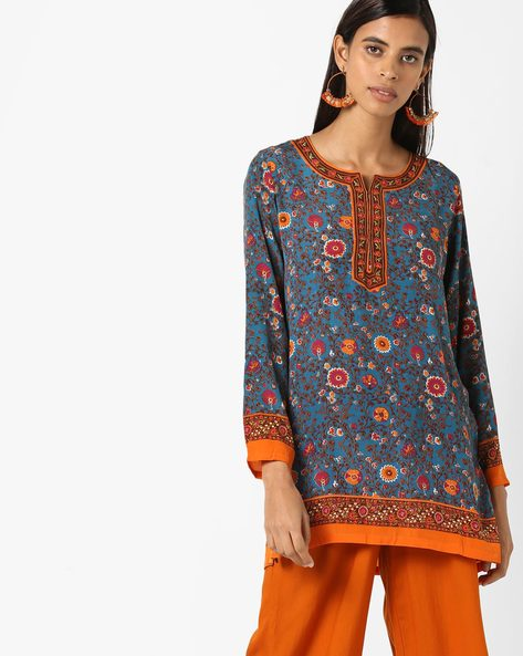Floral Printed Straight Kurti By Biba ( Turquoise )