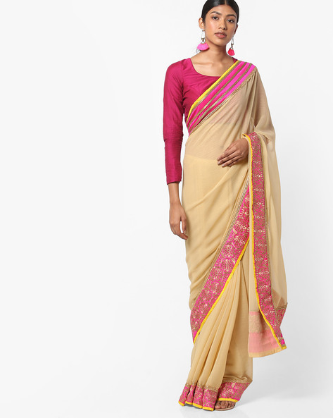 Saree With Embroidered Border By Vastrangi ( Beige )