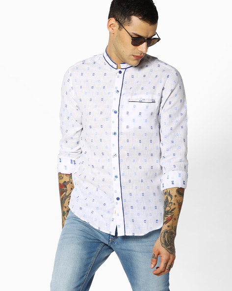 Printed Slim Shirt With Mandarin Collar By The Indian Garage Co ( White )