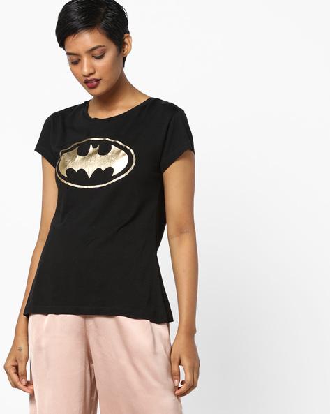 Batman Print Crew-Neck T-shirt By Free Authority ( Black )
