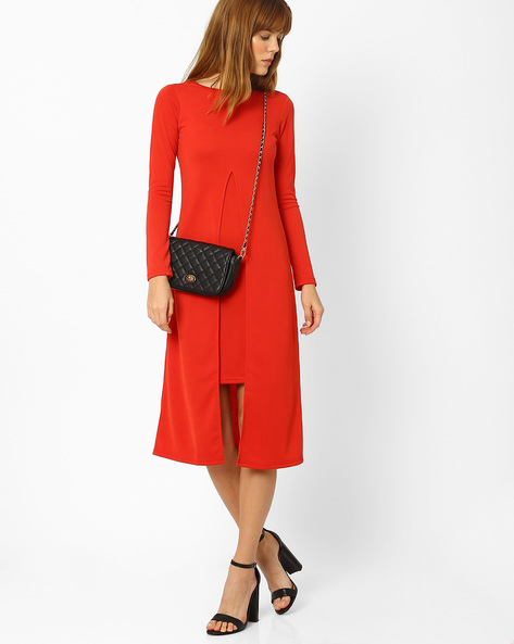 Layered Midi Dress By And ( Orange )