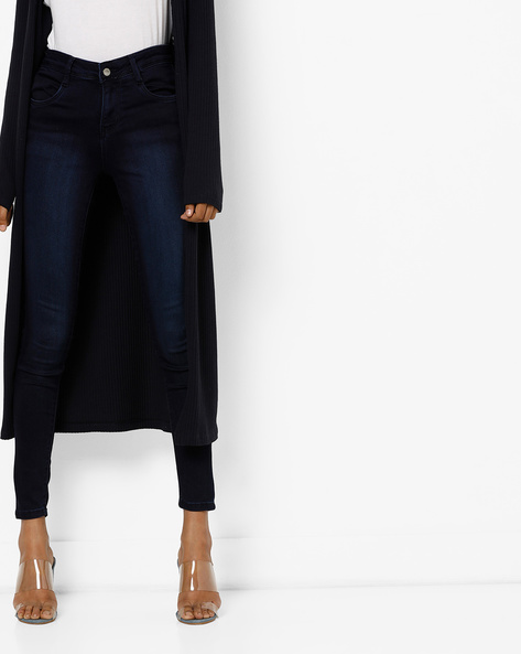 Skinny Fit Ankle-Length Jeans By KRAUS ( Ltblue )