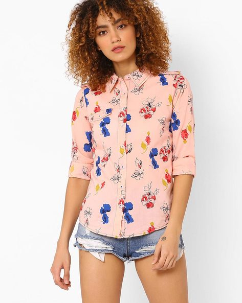Floral Print Shirt With Flap Pocket By DNM X ( Ltpeach )