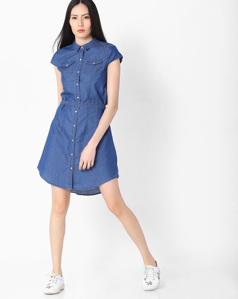 Shirt Dress With Cap Sleeves By KRAUS ( Blue )