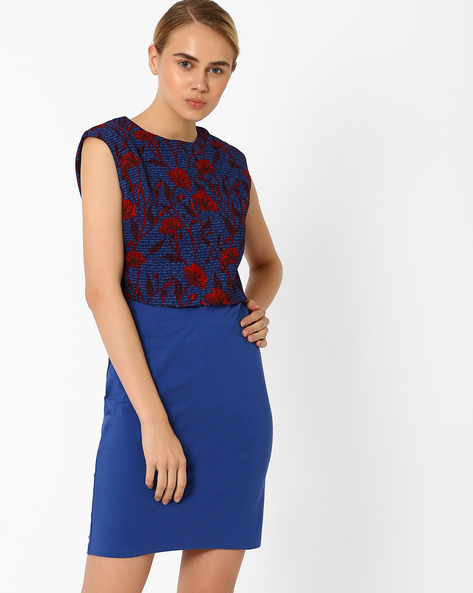 Floral Print Layered Dress By AJIO ( Navyblue )