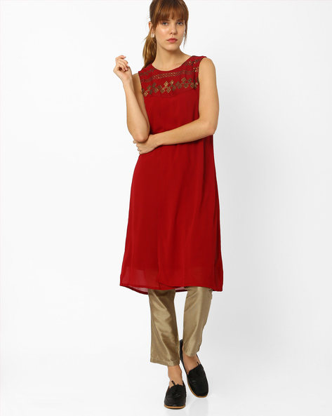 Sleeveless Tunic With Sequinned Yoke By Global Desi ( Maroon )