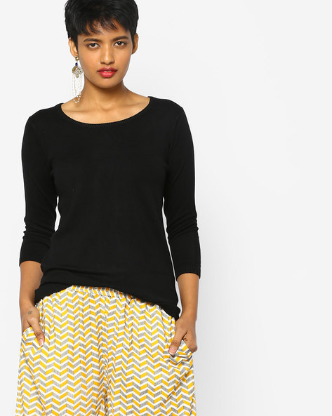 Knitted Top With Ribbed Hems By PE WW Work ( Black )