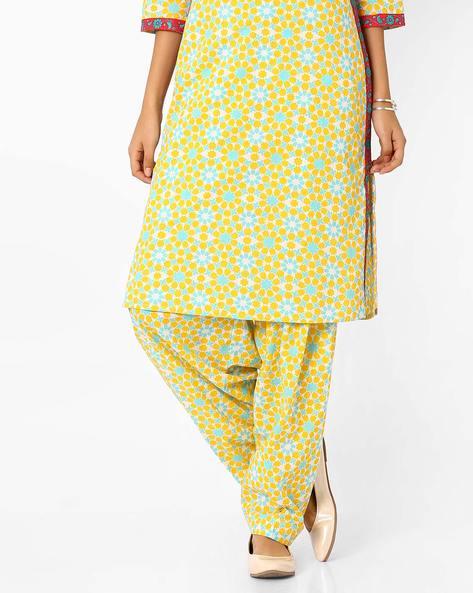 Printed Patiala Pants By AJIO ( Yellow )