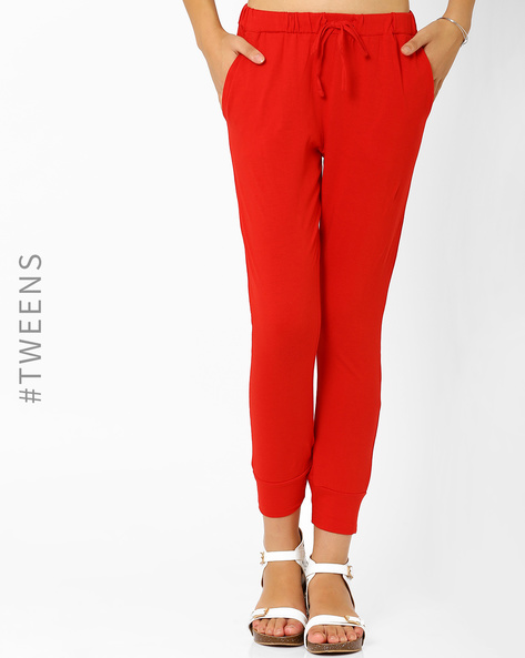 Cuffed Track Pants By AJIO Girl ( Red )