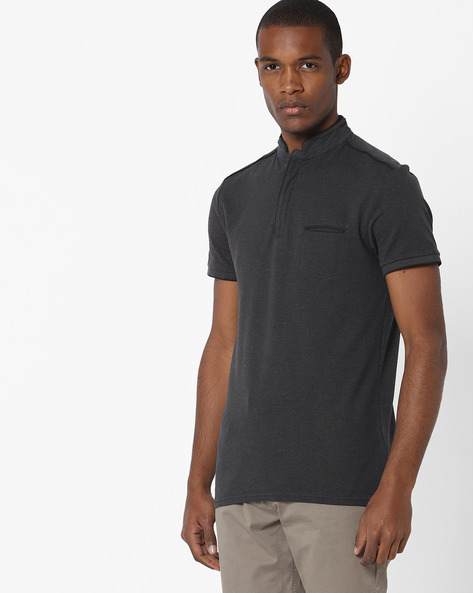 Slim Fit T-shirt With Welt Pocket By Celio ( Lightgrey )
