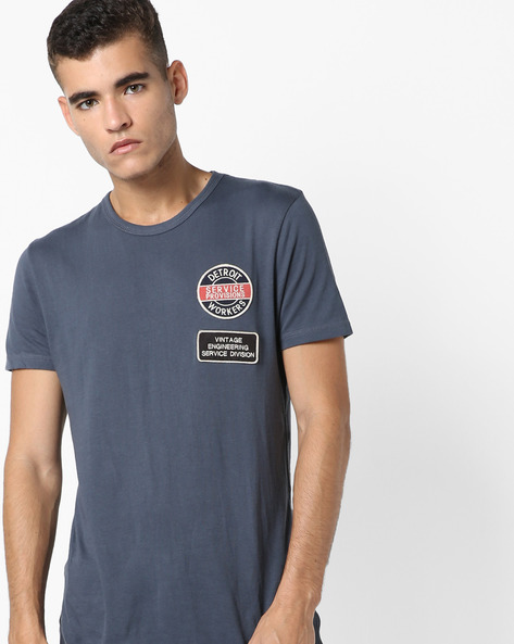 Crew-Neck T-shirt With Embroidered Appliques By Jack & Jones ( Blue )