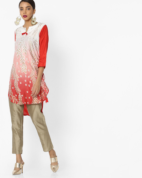 Printed High-Low Tunic By Akkriti By Pantaloons ( Coral )