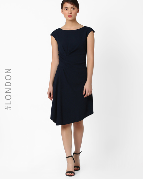Tailored Dress With Ruffles By Closet London ( Navyblue )