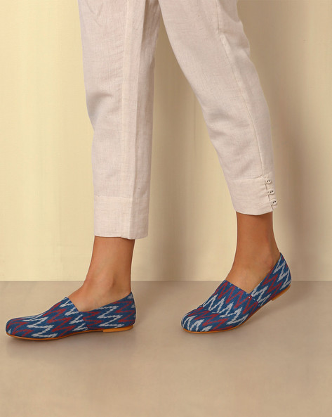 Handwoven Ikat Slip-On Shoes By Ada ( Multi )