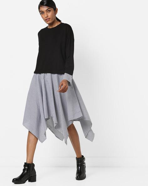 Flared Dress With Asymmetric Hemline By Vero Moda ( White )