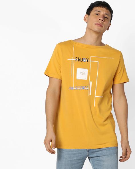 Graphic Print Slim T-shirt By AJIO ( Yellow )
