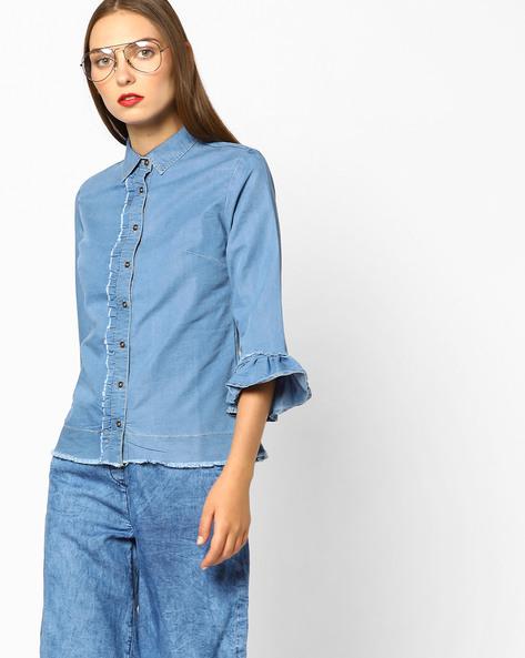 Denim Shirt With Ruffle Sleeves By AJIO ( Lightblue )