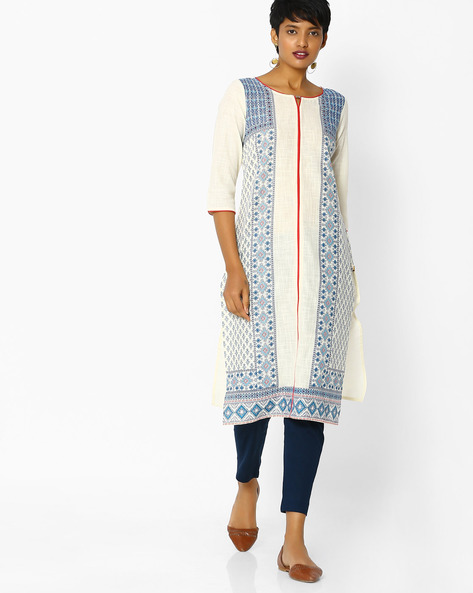 Printed Kurta With Contrast Piping By AURELIA ( White )
