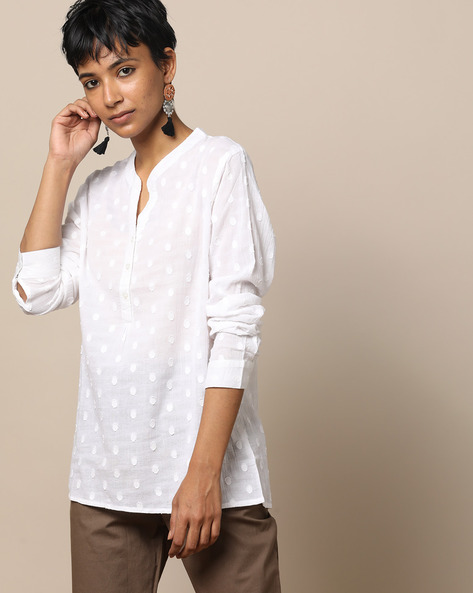 Cotton Dobby Full Sleeve Shirt By Lyla ( White )