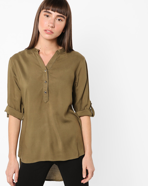 High-Low Kurta With Notched Neckline By ETHNIC CURRY ( Green )