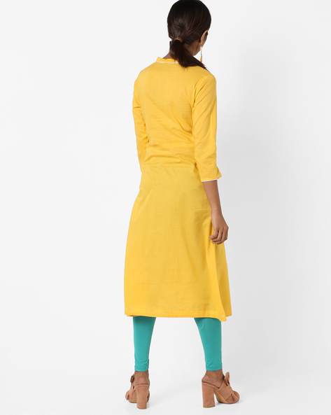 Embroidered A-line Kurta With Overlap Neck By AJIO ( Yellow )