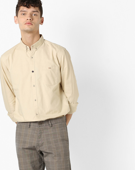Slim Fit Shirt With Button-Down Collar By AJIO ( Khaki )
