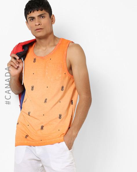 Lightly Washed Printed Fashion Vest By Point Zero ( Orange )