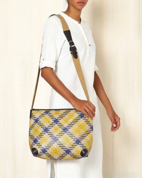 Handcrafted Natural Fibre Sling Bag By Indie Picks ( Multi ) - 460039146001
