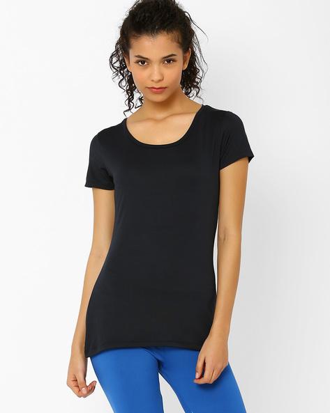 Stretch Knit T-shirt By AJIO ( Black )