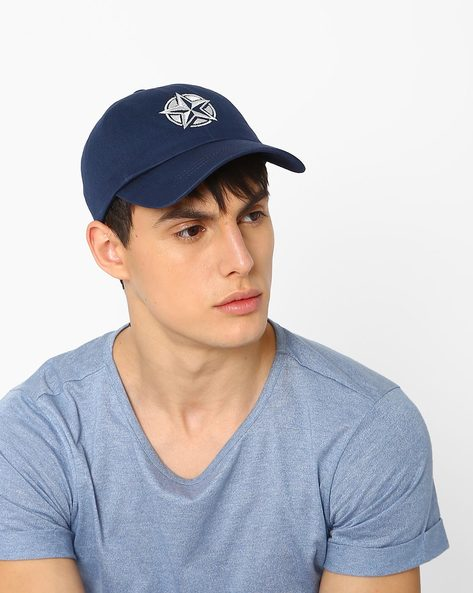 Baseball Cap With Embroidery By Feathers ( Navy )