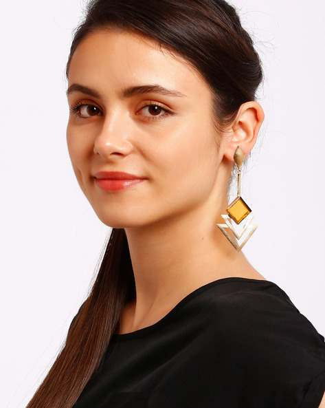 Drop Earrings With Stone By Ssoul ( Yellow )