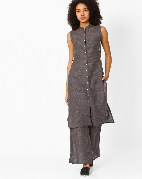Sleeveless Open-Front Kurta By AJIO ( Charcoal )