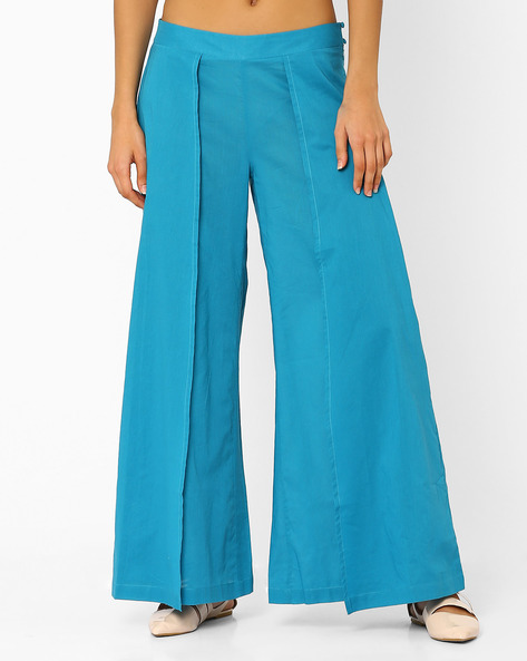 Pleated Palazzo Pants By AJIO ( Teal )