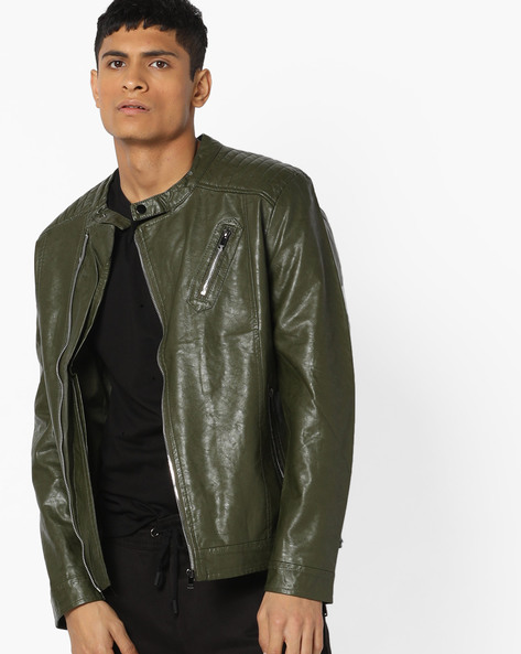 Slim Fit Biker Jacket With Zip Pockets By The Indian Garage Co ( Green )