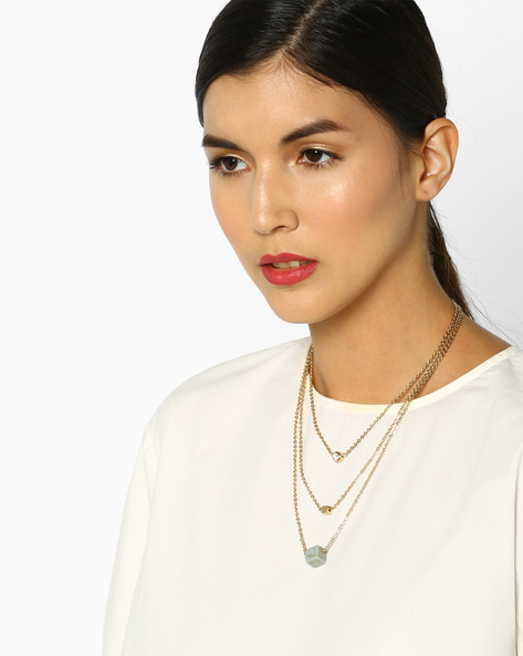 Multistrand Necklace With Pendants By Fayon ( Gold )