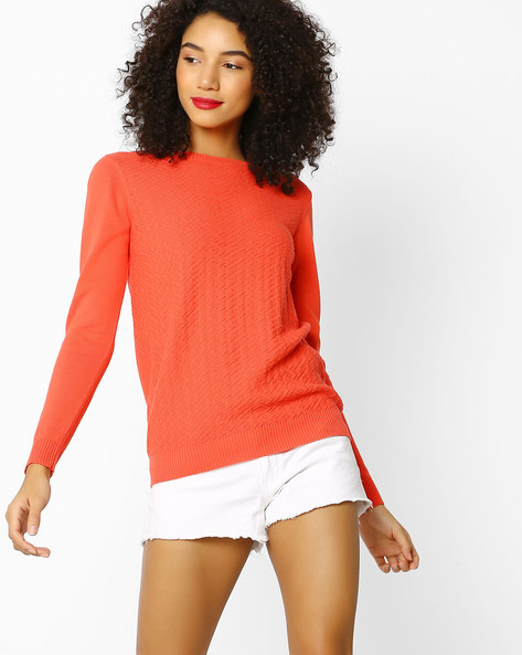 Flat Knit Top With Ribbed Hems By FIG ( Redorange )