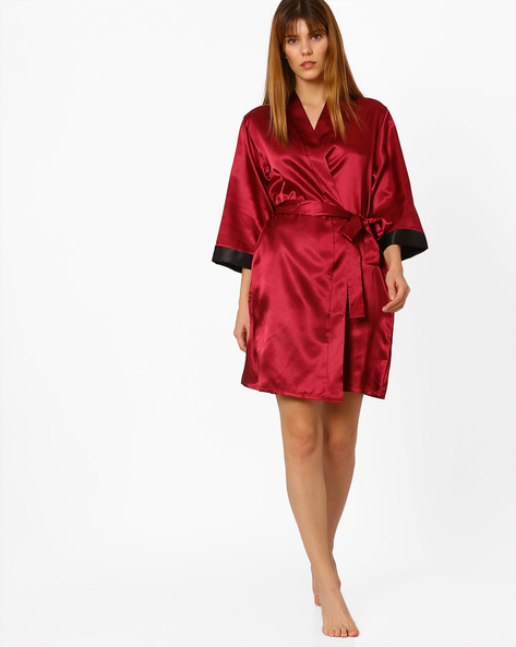 Robe With Contrast Cuffs By PrettySecrets ( Red )