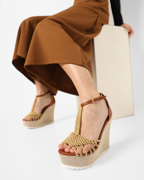 Peep-Toe Wedges With Buckle Closure By AJIO ( Brown )