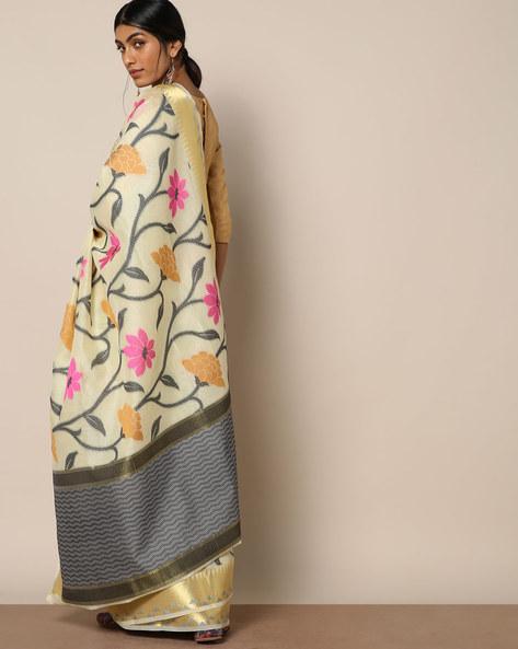 Banarasi Silk Cutwork Floral Jaal Saree By Banarasi Style ( Offwhite )