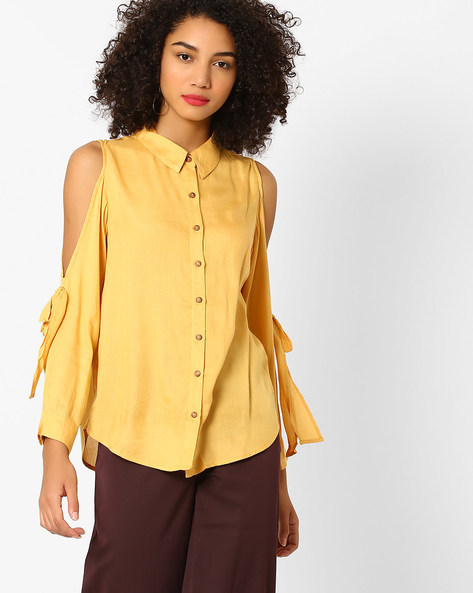 Cold-Shoulder Shirt With Tie-Ups By Rena Love ( Mustard )