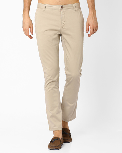 Mid Rise Slim Fit Stretch Chinos By AJIO ( Brown )