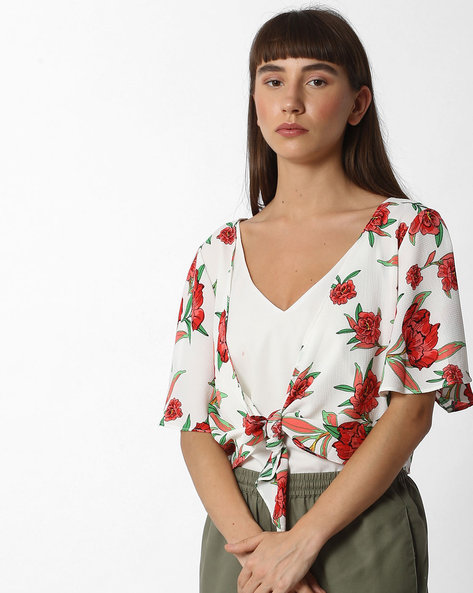 Floral Print Waterfall Shrug By Ginger By Lifestyle ( Offwhite )