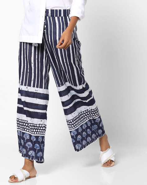 Printed Palazzos With Drawstring Waist By Melange By Lifestyle ( Blue )