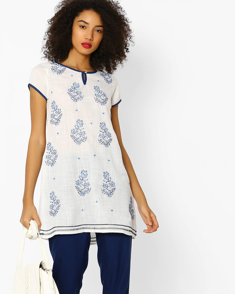 A-line Tunic With Embroidered Motifs By FUSION BEATS ( Cream )
