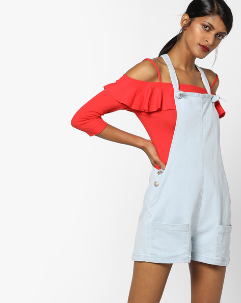 Dungarees With Tie-Ups By Ginger By Lifestyle ( Lightblue )