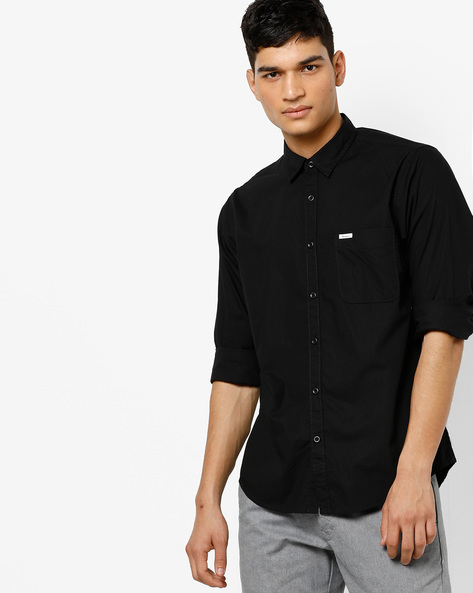 Cotton Shirt With Spread Collar By Pepe Jeans ( Black )