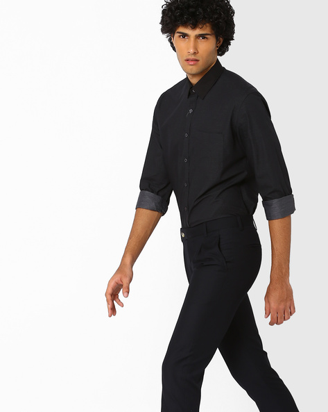 Textured Trim Shirt With Patch Pocket By NETWORK ( Black )